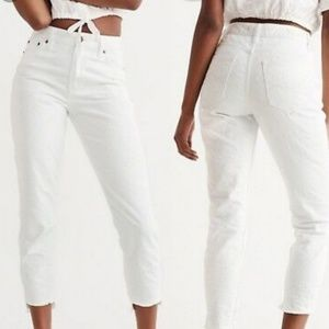 Abercrombie & Fitch White Textured High Rise Jeans